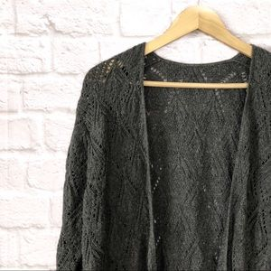 Charcoal longline knitted cardigan
